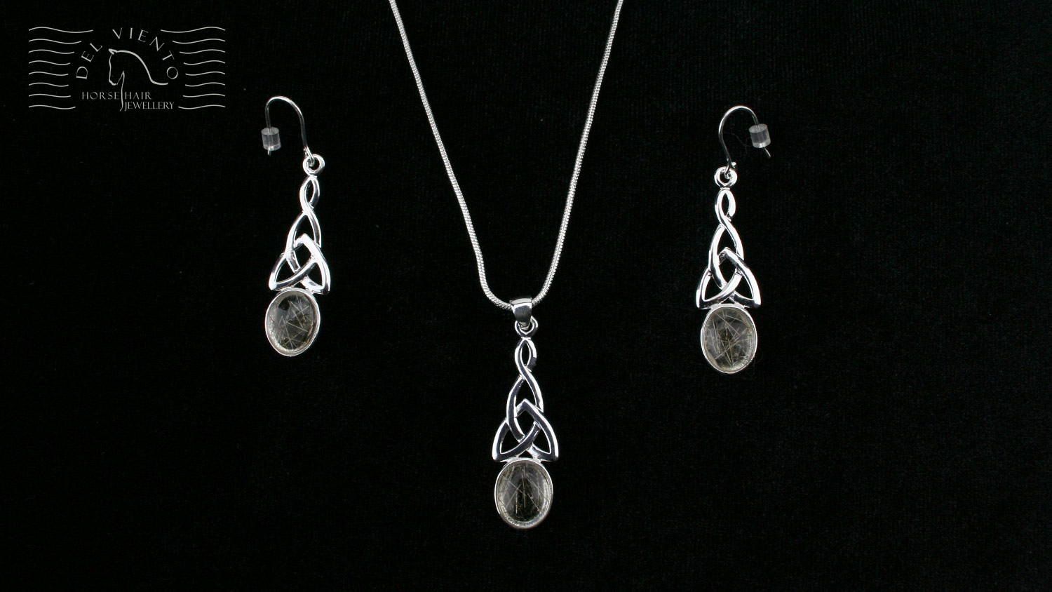N38CAV Sterling Silver Celtic Twist Pendant and ER34CAV sterling silver earrings